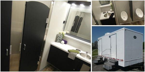 Luxury Portable Bathroom Trailer Rental In Brooklyn, New York.