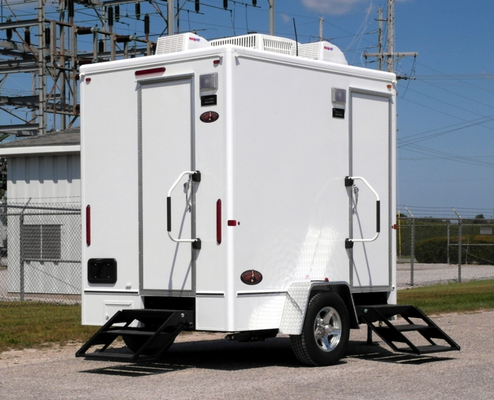 Single Stall Restroom Trailer Rental with Flushable Toilet in New York.