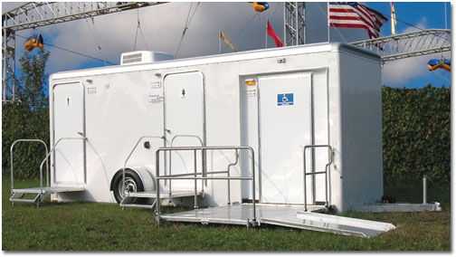 The Grand Central ADA Compliant Handicap Wheelchair Accesible Bathroom/Shower Trailer With Wheelchair Ramp For Elderly and Physically Challenged Patrons