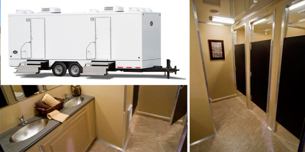 New Yorker 10 Stall Bathroom Trailer Rentals For High Traffic Restroom Requirements in New York, NY.