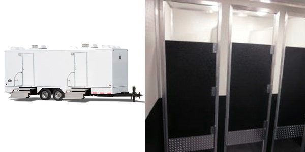 The Wall St Restroom Trailer Rental With Men's & Women's Rooms and Private Bathroom Stalls and Urinals.